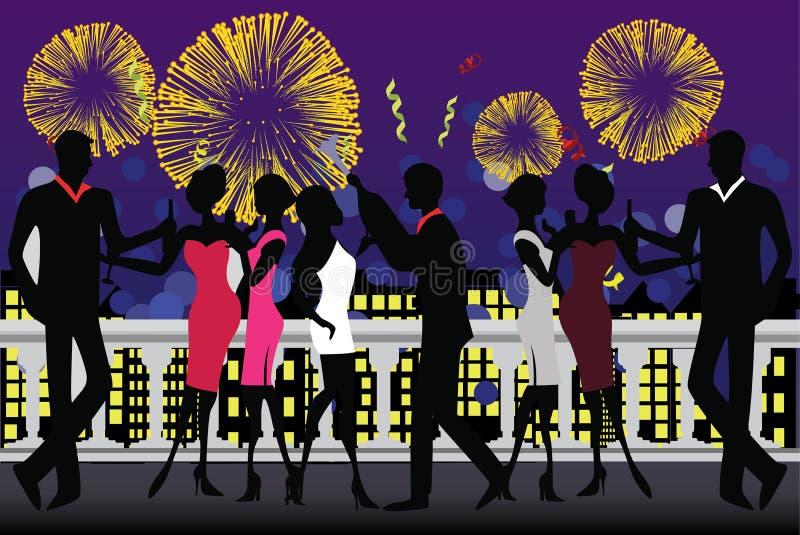 świętowanie rok nowy partyjny ilustracja wektor