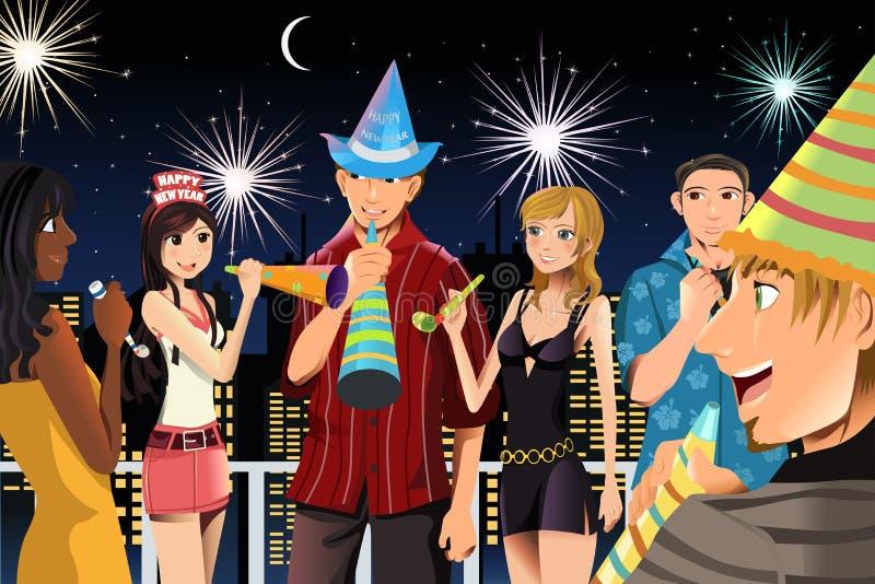 świętowanie rok nowy partyjny ilustracji