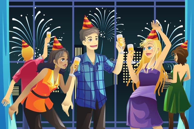 świętowanie rok nowy partyjny royalty ilustracja