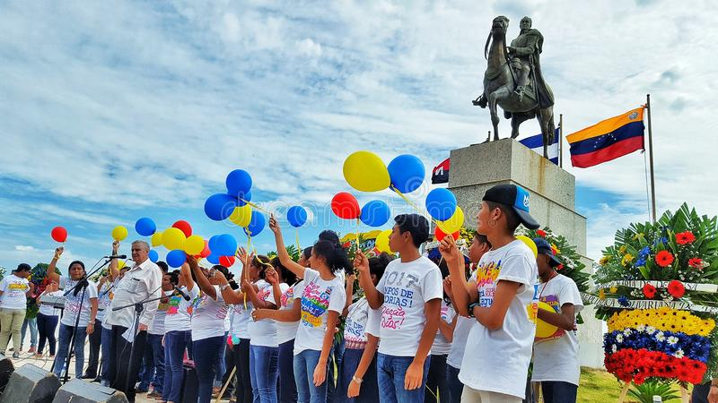 Świętowanie Wenezuela Independency w Managua Nikaragua zdjęcie stock