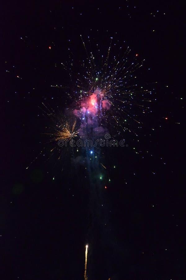 Świętowanie z fajerwerkami przy nocą Petarda świętować nowego roku obraz stock
