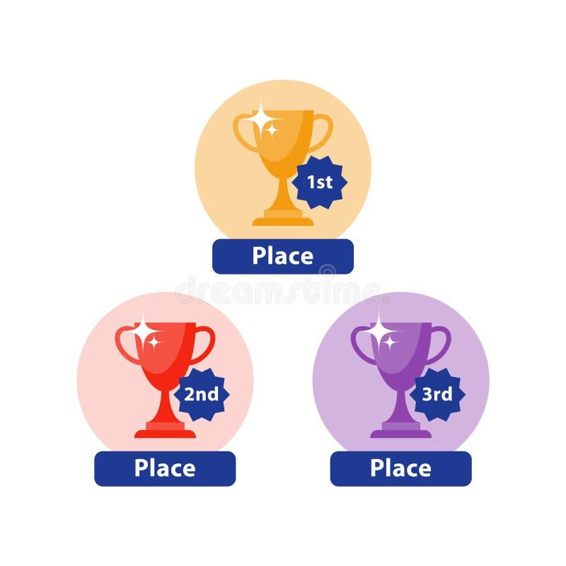 Świętowanie zwycięzcy filiżanka, pierwszy miejsce nagrody ikona, mistrz czara, odgórny sukces, turniejowa nagroda, gemowy zwycięs ilustracja wektor