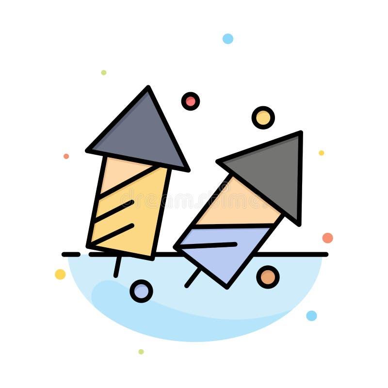 Świętuje, boże narodzenia, krakersy, Diwali, fajerwerki, nowego roku koloru ikony Abstrakcjonistyczny Płaski szablon ilustracja wektor