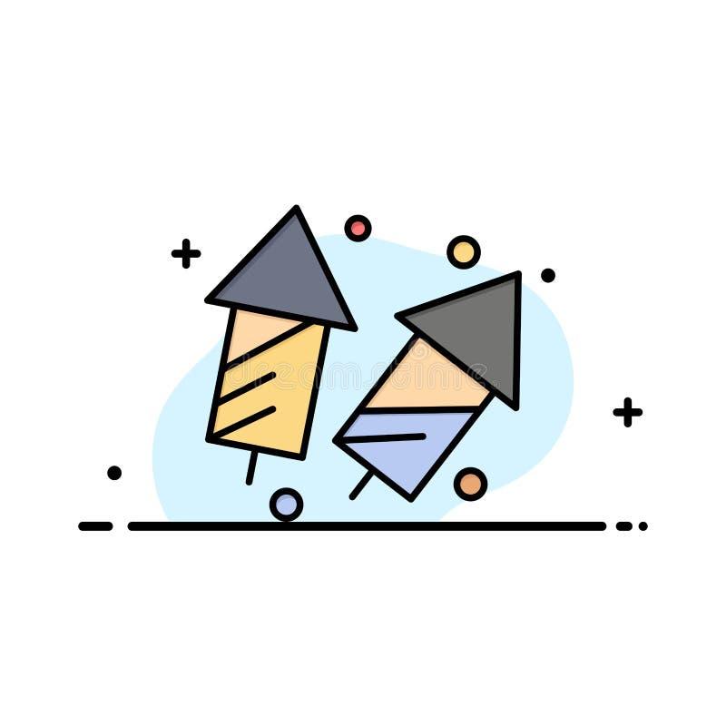 Świętuje, boże narodzenia, krakersy, Diwali, fajerwerki, nowego roku mieszkania ikony sztandaru Biznesowa linia Wypełniający Wekt ilustracja wektor