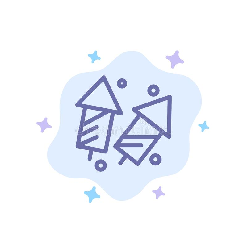 Świętuje, boże narodzenia, krakersy, Diwali, fajerwerki, nowy rok Błękitna ikona na abstrakt chmury tle royalty ilustracja