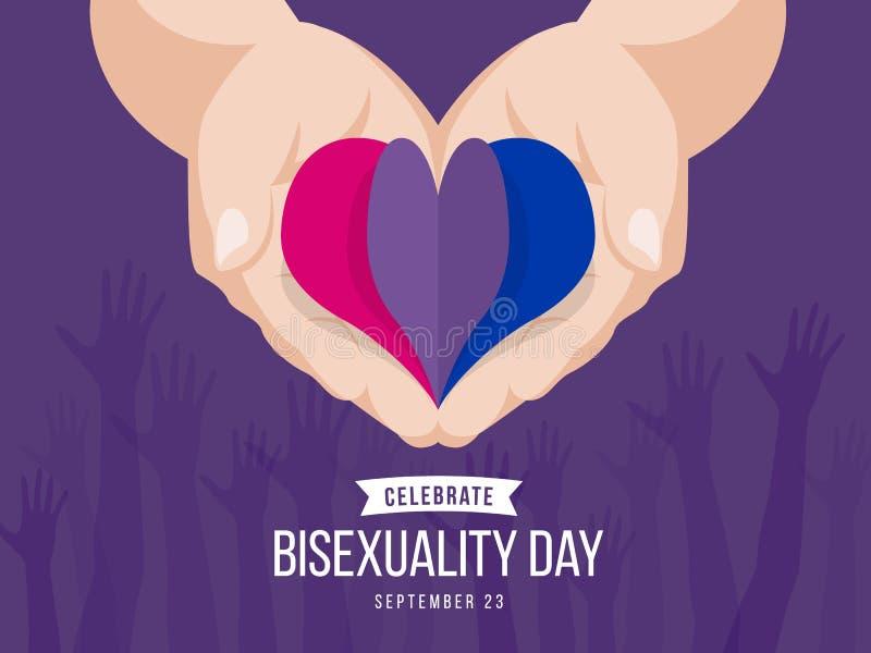Świętuje obupłciowość dnia sztandar z papierowym kierowym obupłciowość koloru symbolem na ręki mienia wektorowym projekcie ilustracji
