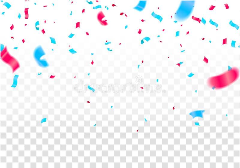 Świętuje sztandar Przyjęcie flaga z confetti również zwrócić corel ilustracji wektora ilustracja wektor