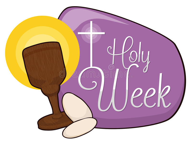 Święty Chalice i komunia chleby w purpura znaku dla Pożyczającej, Wektorowej ilustraci, ilustracja wektor