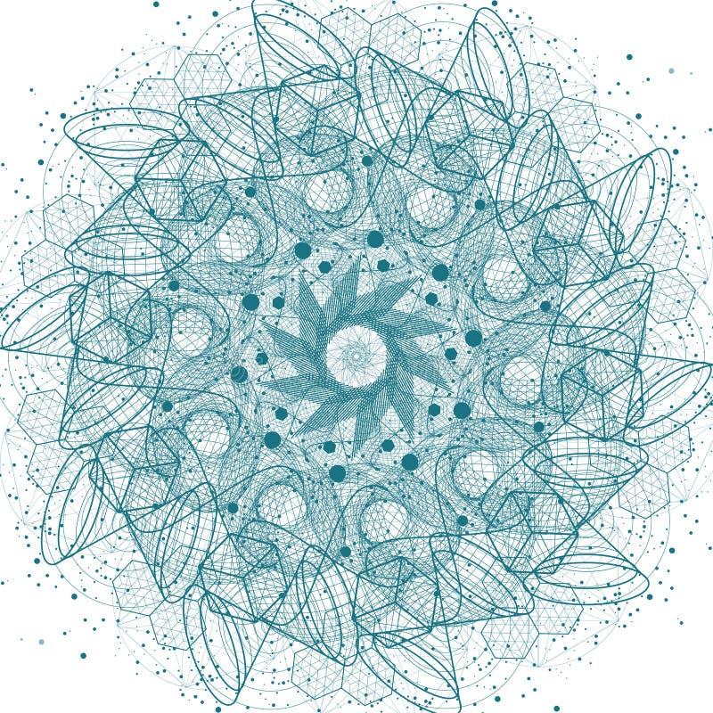Święty geometria elementów i symboli/lów mandala royalty ilustracja