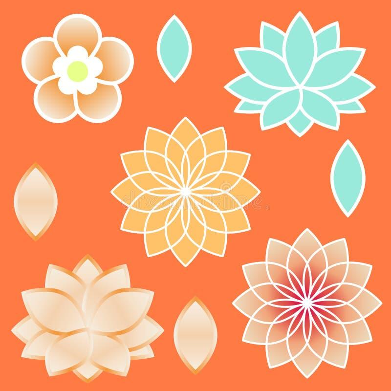 Święty geometria elementów Wenus kwiat i Lotus ilustracja wektor