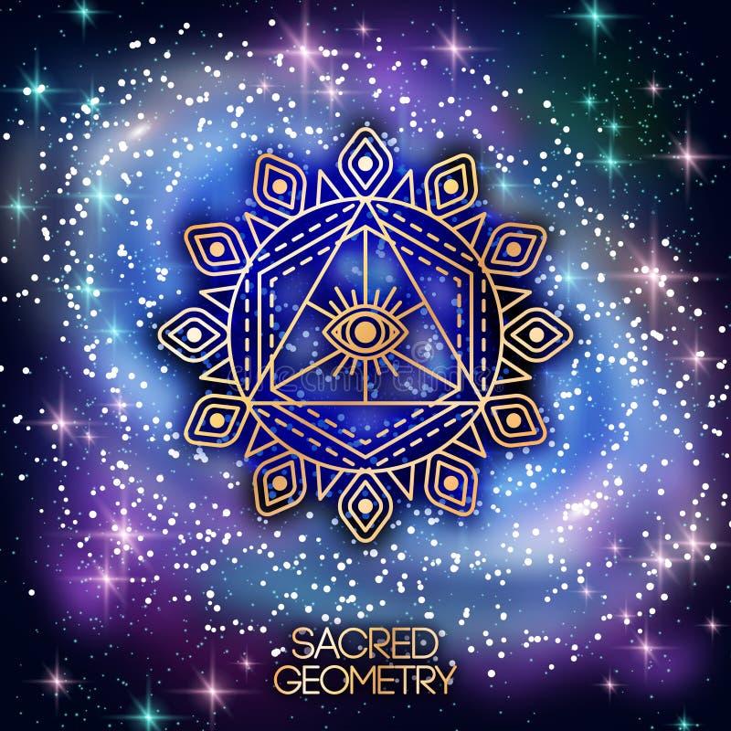 Święty geometria emblemat z okiem na Olśniewającej galaktyce ilustracja wektor