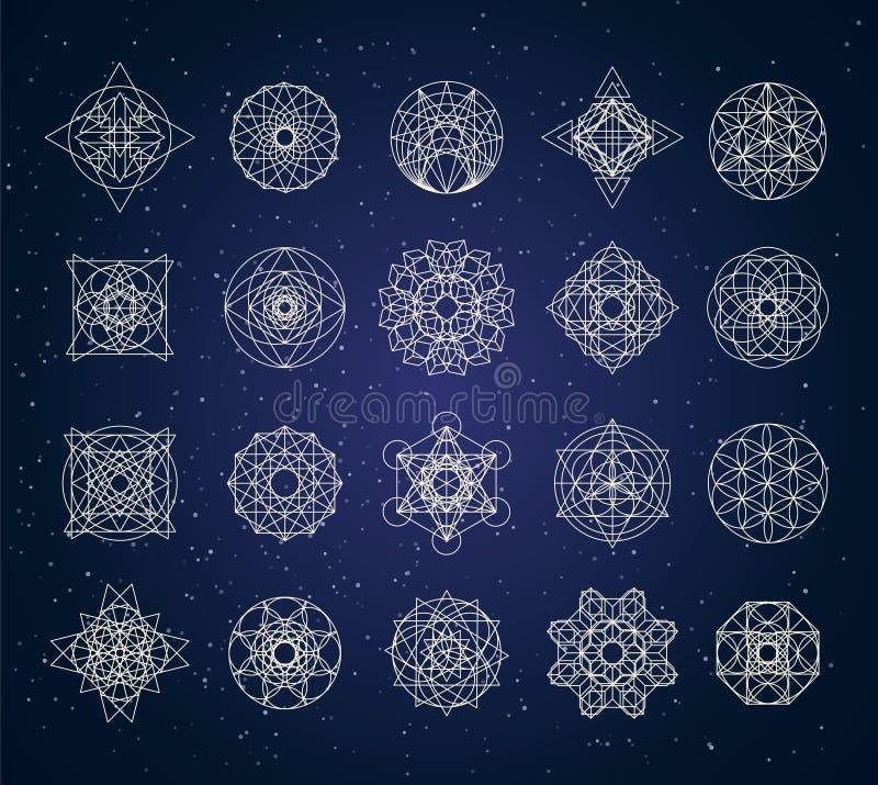 Święty geometria kontur kształtuje wektoru set fotografia royalty free