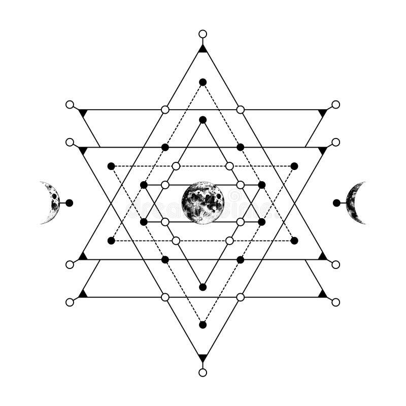 Święty geometria znak z ręka rysującą ziemską i półksiężyc księżyc royalty ilustracja