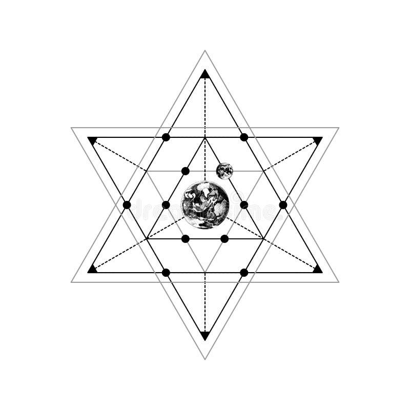 Święty geometria znak z ręka rysującą ziemską i półksiężyc księżyc ilustracji