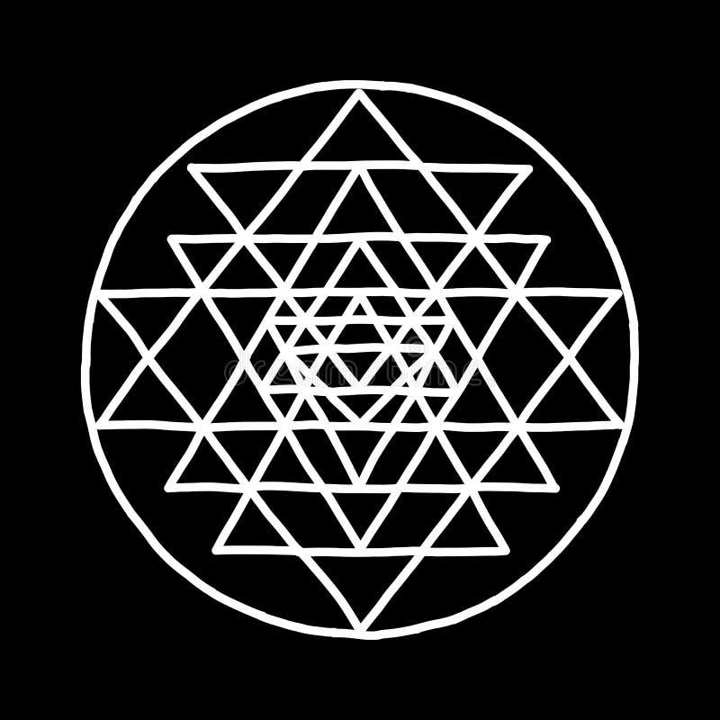 Święty geometrii i alchemii symbol Sri Yantra Ręka rysujący nakreślenie dla twój projekta ilustracji