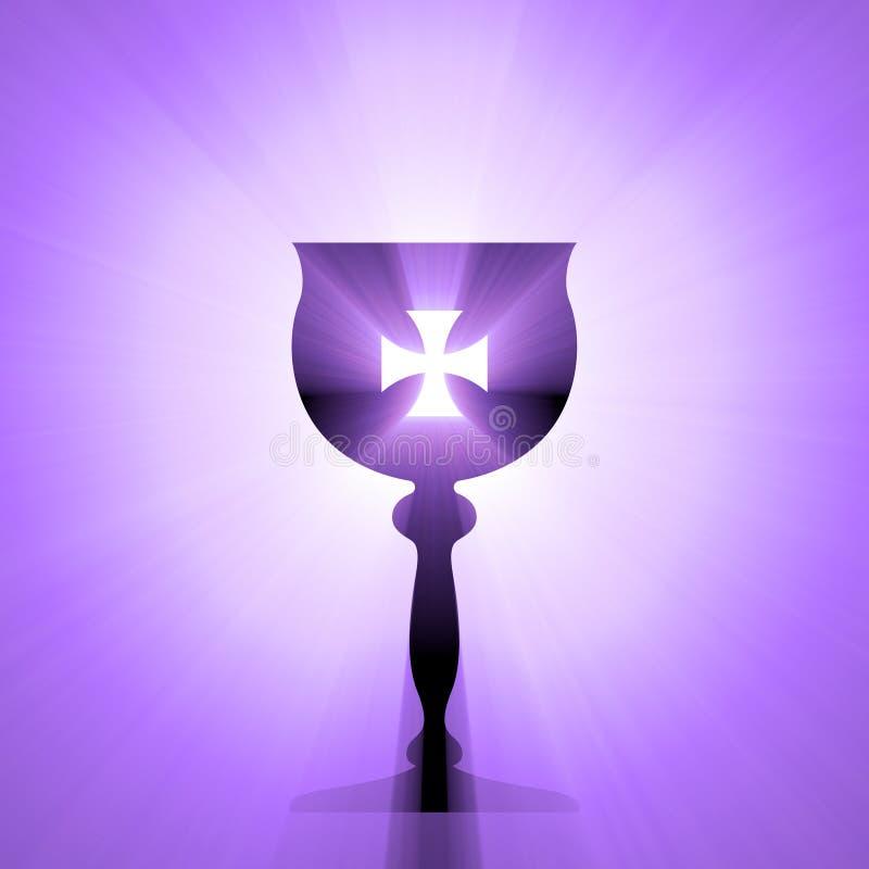 Święty Graal z krzyża światła halo royalty ilustracja
