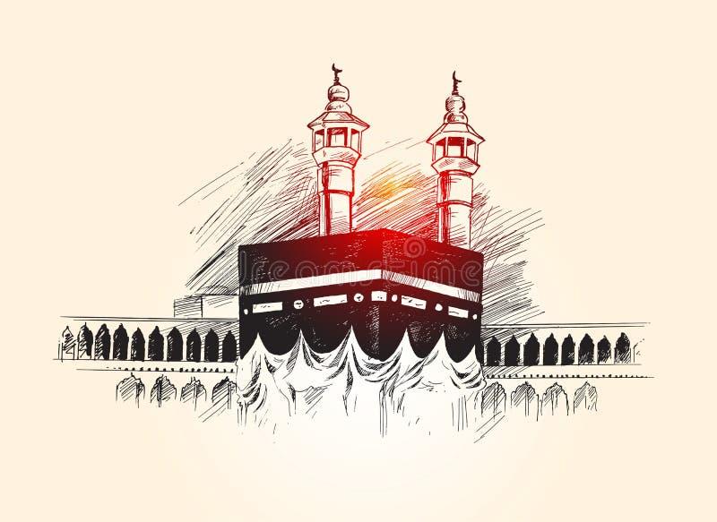 Święty Kaaba w mekce Arabia Saudyjska, ręka Rysujący nakreślenie wektor royalty ilustracja