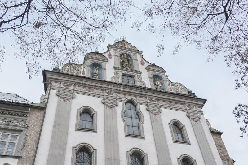Święty Kierowy klasztor w Hall w Tirol lub Herz-Jesu fotografia royalty free