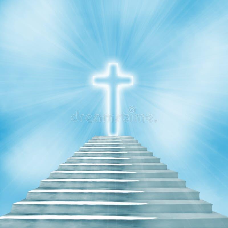 święty krzyż i schody prowadzi niebo lub piekło ilustracji