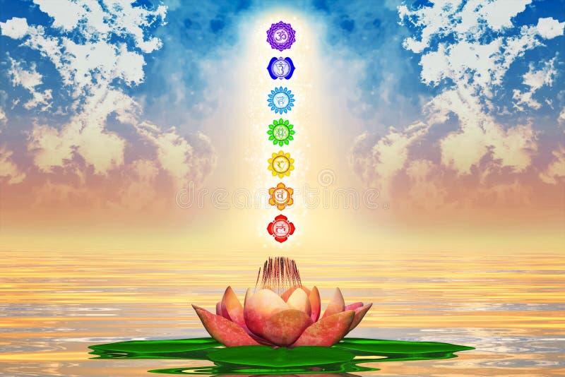 Święty Lotus I Chakras royalty ilustracja