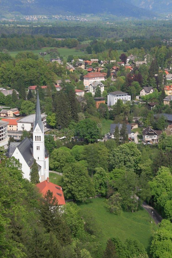 Święty Martin kościół w Krwawiący, Slovenia obraz stock