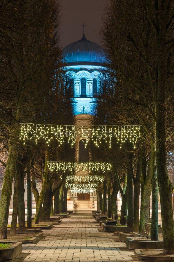 Święty Michael archanioła ` s kościół lub Garnizonowy kościół przy nocą obraz stock