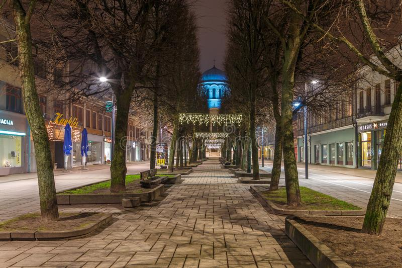 Święty Michael archanioła ` s kościół lub Garnizonowy kościół przy nocą fotografia stock