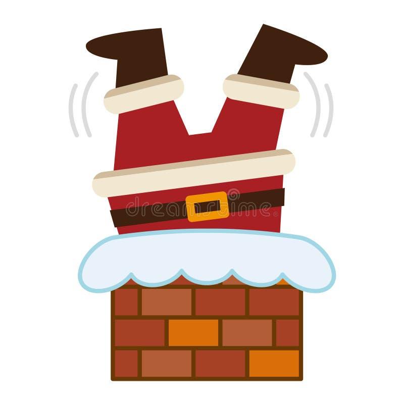 Święty Mikołaj łapał do góry nogami w kominie ilustracji