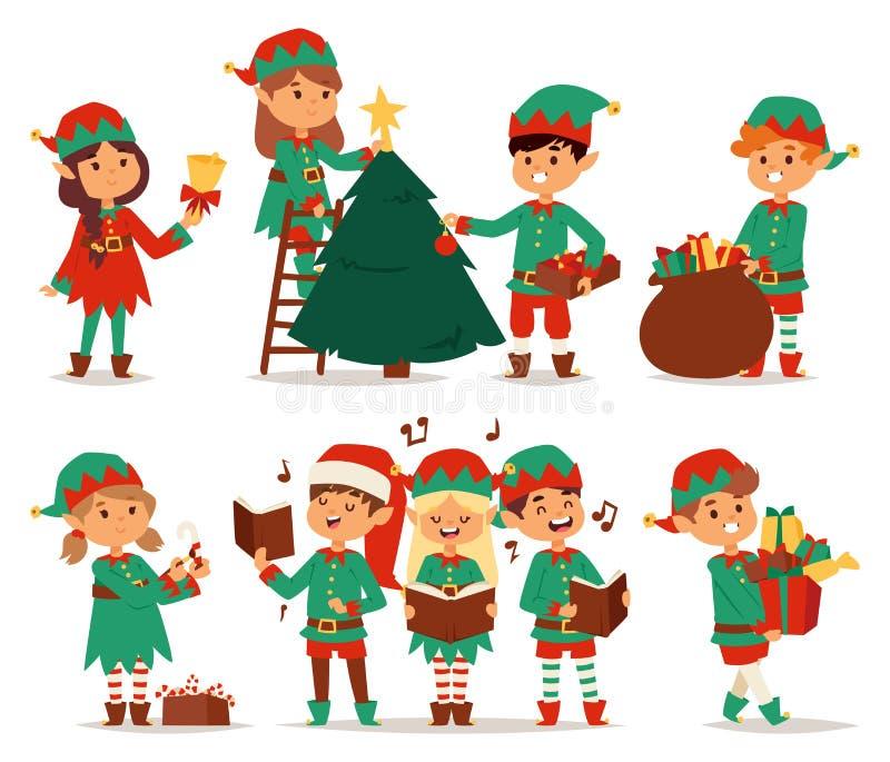 Święty Mikołaj żartuje kreskówka elfa pomagierów ilustracja wektor