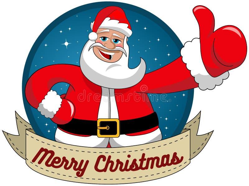 Święty Mikołaj życzy wesoło bożym narodzeniom round ramę royalty ilustracja