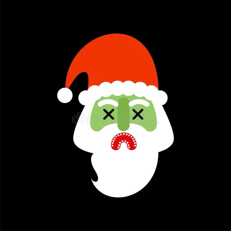 Święty Mikołaj żywy trup Bożenarodzeniowy dziadek horror halloween nowy ilustracja wektor