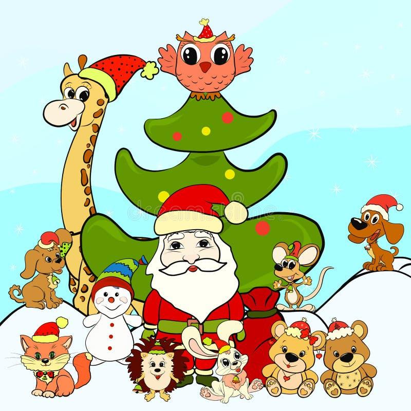 Święty Mikołaj, bałwan i szczęśliwi zwierzęta obok Bożenarodzeniowego tre, royalty ilustracja