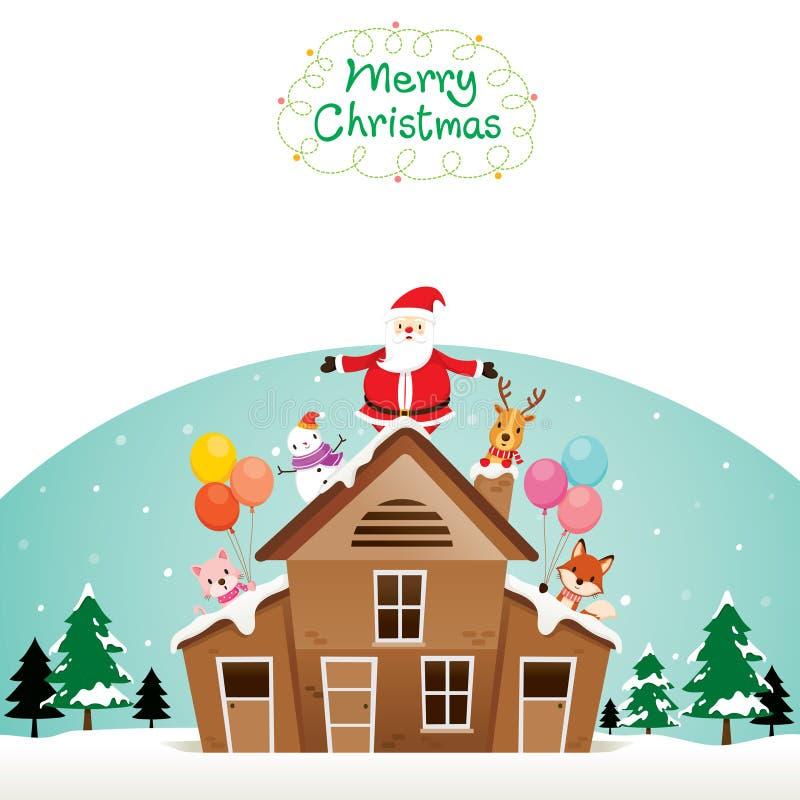 Święty Mikołaj, bałwan I zwierzęta Na dachu, ilustracji