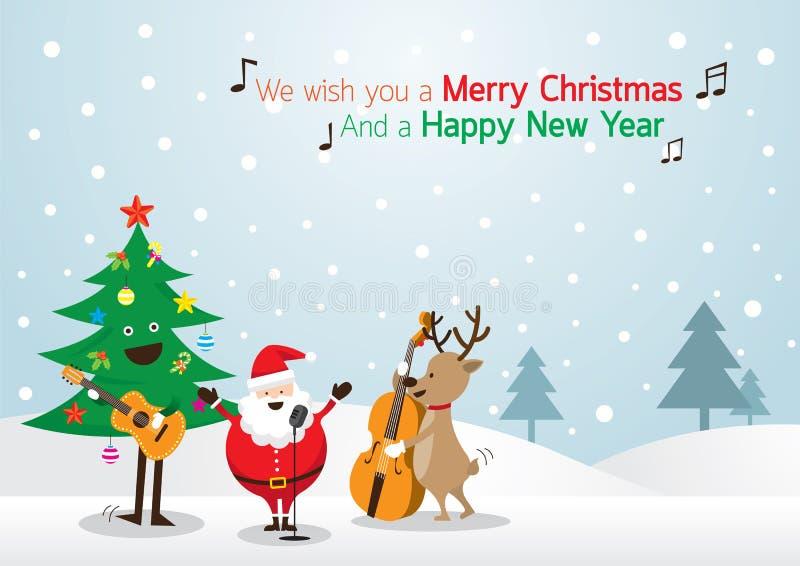 Święty Mikołaj, bałwan, renifer, Bawić się Muzycznego tło ilustracja wektor
