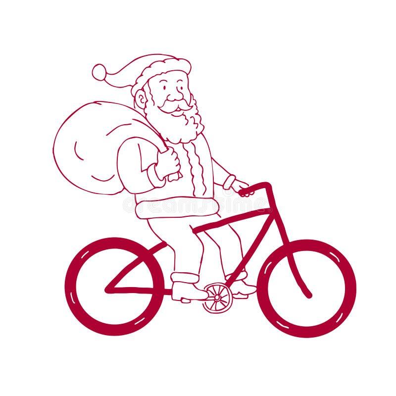 Święty Mikołaj bicyklu strony Jeździecka kreskówka ilustracji