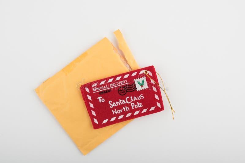 Święty Mikołaj biegunu północnego etykietka zdjęcia stock