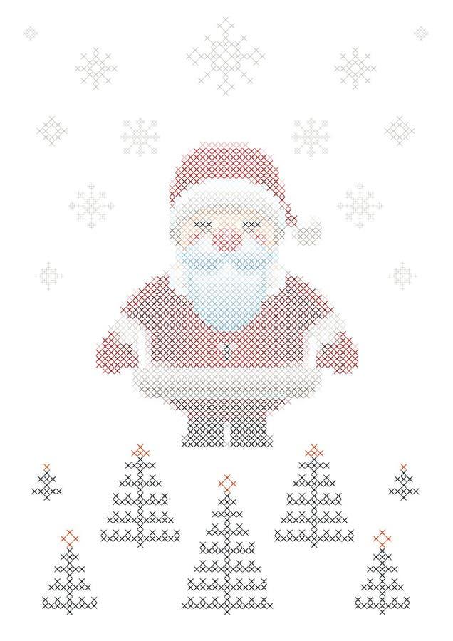Święty Mikołaj, Bożenarodzeniowa ściegu wektoru ilustracja ilustracja wektor
