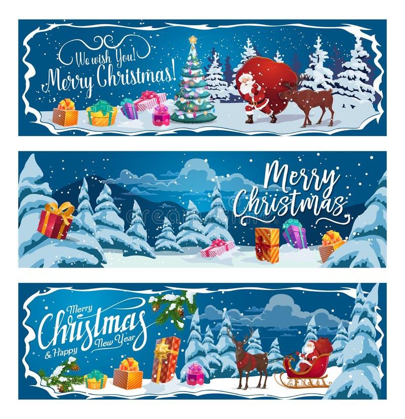 Święty Mikołaj, Bożenarodzeniowi prezenty i reniferowy sanie, royalty ilustracja