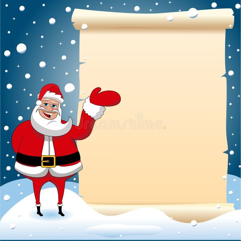 Święty Mikołaj Bożenarodzeniowy Przedstawia pergamin Pusty ilustracja wektor