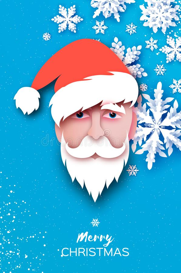 Święty Mikołaj broda w papieru cięciu i kapelusz projektujemy Origami Wesoło boże narodzenia i Szczęśliwa nowy rok powitań karta  royalty ilustracja