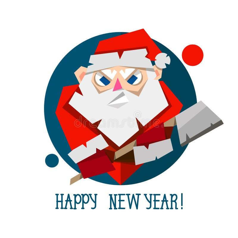 Święty Mikołaj broda w papieru cięciu i kapelusz projektujemy Origami Wesoło boże narodzenia i Szczęśliwa nowy rok powitań karta ilustracji