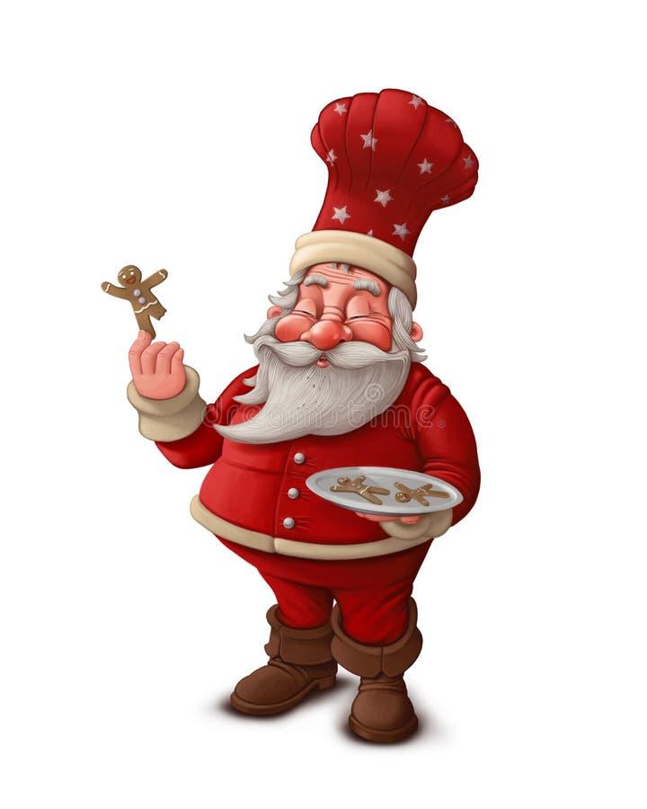 Święty Mikołaj ciasta kucharz - Biały tło ilustracji