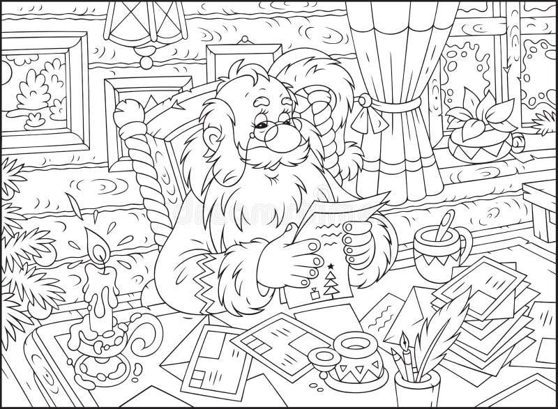 Święty Mikołaj czyta listy ilustracji
