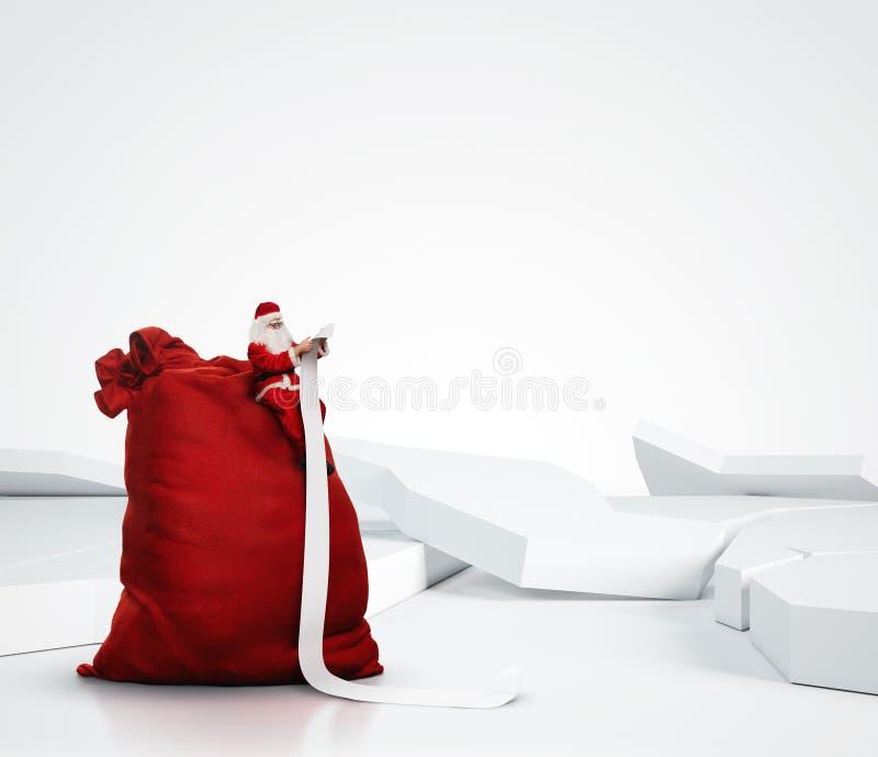 Święty Mikołaj czytanie tęsk lista zdjęcie stock