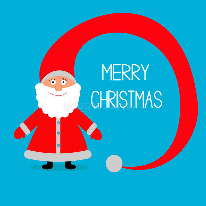 Święty Mikołaj. Duży kapelusz. Wesoło kartka bożonarodzeniowa. ilustracji
