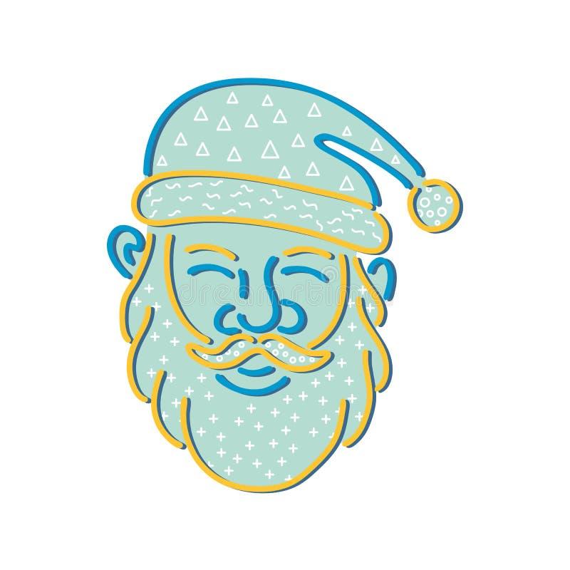 Święty Mikołaj głowy Memphis styl royalty ilustracja