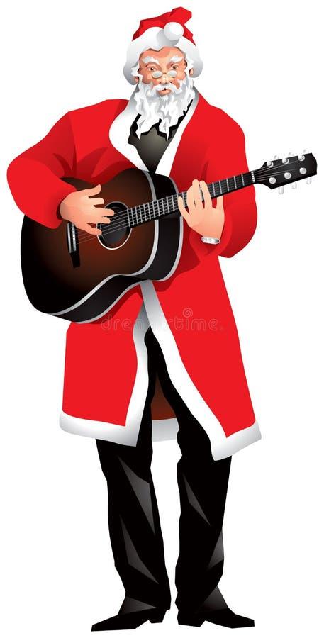 Święty Mikołaj gitary gracz ilustracji