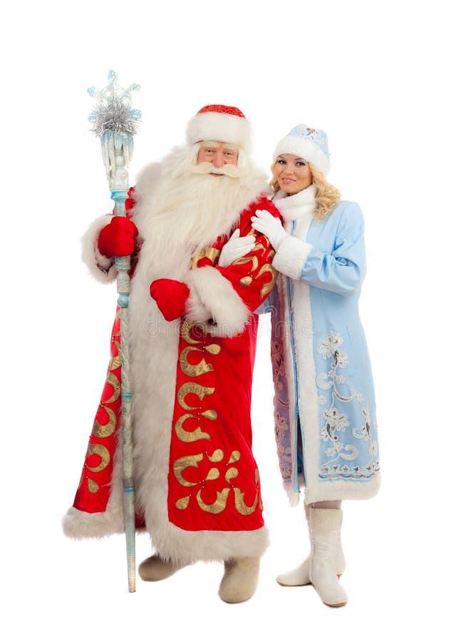 Święty Mikołaj i Śnieżna dziewczyna obraz stock