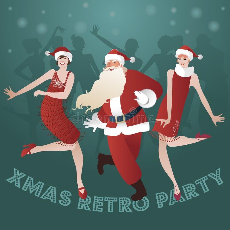 Święty Mikołaj i dwa podlotek dziewczyn tanczyć ilustracji