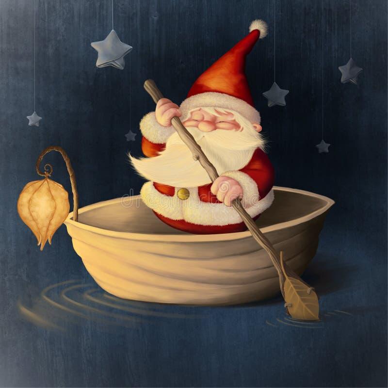 Święty Mikołaj i orzech włoski skorupa ilustracji